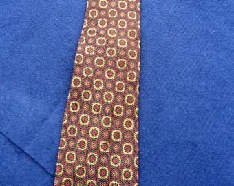 1970's Vintage Jacques Fath Pure Silk Patterned Tie