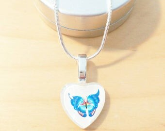 CLEARANCE! Heart tattoo Butterfly with a white background painted by hand by heart of exception shaped Butterfly glass necklace