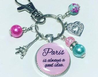 Paris keyring, Paris keychain, Audrey hepburn quote, paris is always a good idea
