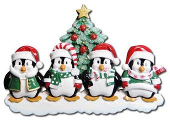 Personaized Penguin Family of 4 Ornament