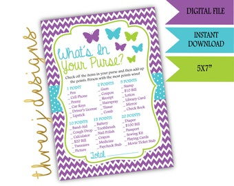 Butterfly Baby Shower What's In Your Purse Game - INSTANT DOWNLOAD - Purple, Teal, and Green - Digital File - J006