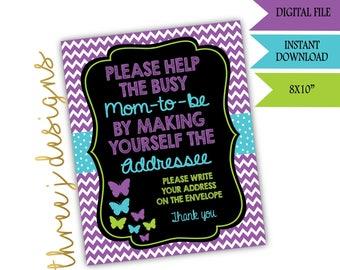Butterfly Baby Shower Address Envelope Sign - INSTANT DOWNLOAD - Purple Teal and Green - Digital File - J006