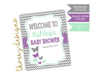 Butterfly Baby Shower Personalized Welcome Sign - Gray, Lavender and Mint - Digital File - J005