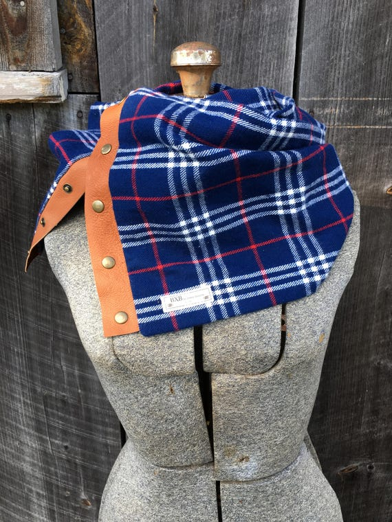 Blue Plaid Cowl Snap Scarf with leather detail