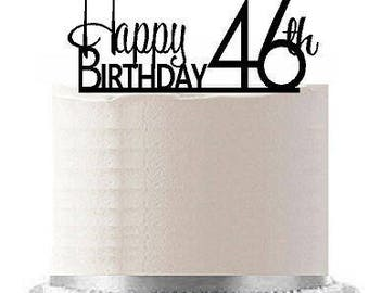 Happy 46th Birthday Agemilestone Elegant Cake Topper