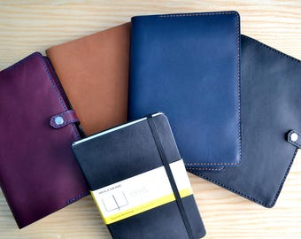 Moleskine Horween leather cover | snap closure, 4 leather colours, all sizes | Journal sleeve | leather notebook