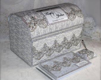 silver card box, envelope holder,wedding Card Box, Money holder, envelope holder, silver anniversary, treasure chest, anniversary