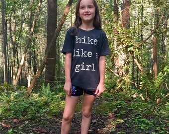 Hike Like A Girl Kid Shirt - Shirt for Girls - Hiking Shirt for Girls - Unisex Kids Clothing - Feminist Kids Shirts - Mountain Kid- Triblend