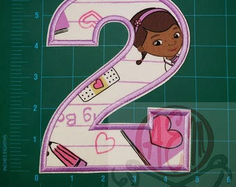 6 Inch Number 2 IRON ON Patch Doc McStuffins Fabric