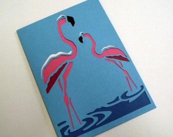 A6 Hand-Cut Flamingo Greetings Card