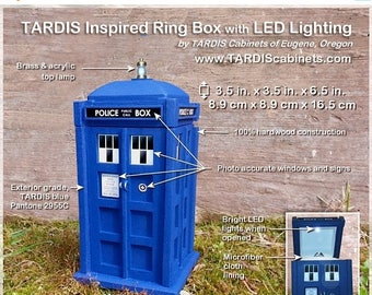 ON SALE NOW Tardis Inspired Ring Box w/ Led Lighting