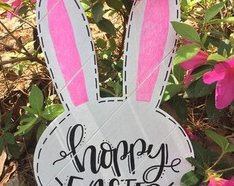 Wood Easter Bunny Doorhanger
