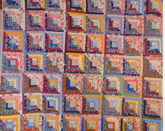 Multi Colour Twin Size Log Cabin Quilt