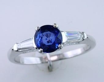 Art Deco 1.35ct Sapphire & Diamond Platinum Vintage Antique Engagement Ring