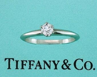 Tiffany & Co Diamond Solitaire Platinum Engagement Ring Certified .18ct E-VVS1