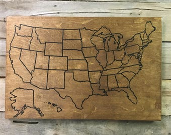 Us Map With Pins Etsy - Usa travel map with pins