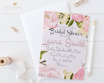 Flower Bridal Shower Invitation / Digital Printable Birthday Invite for Wedding / DIY Party