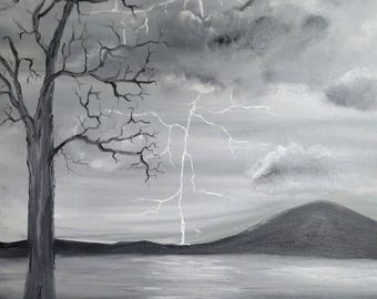 Striking black and white 16x20 oil on wrapped canvas lightning bolt