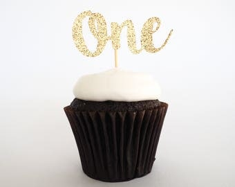 Gold glitter One cupcake toppers | First birthday cupcake toppers | 1st birthday cupcake toppers | One toppers | Gold glittery one toppers |