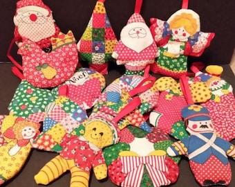 Vintage handmade Calico cloth stuffed Christmas ornaments