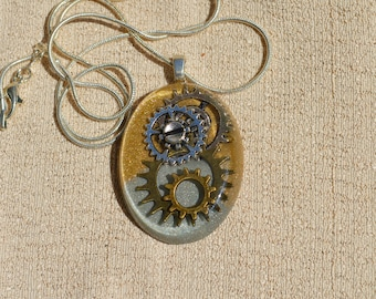 Steampunk Gear Necklace. Silver and God, Resin Jewelry