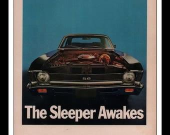 "Vintage Print Ad 1960s : Chevy Nova SS Automobile Car Wall Art Decor 8.5"" x 11"" each Advertisement"