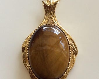 Gorgeous Vintage Tigers Eye Pendant 18 Carat Yellow Gold Over Solid 925 Sterling Silver