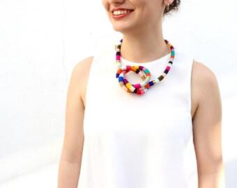 Multi Use Colorful Jewelry Necklace Bracelet Multicolor Strand Bib Statement Necklace Bracelet Textile Wrap Knot Chunky Necklace Bracelet
