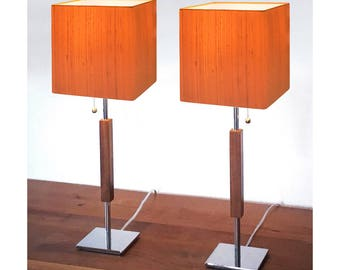 modern table lamps single or bedside pair midcentury feeling chrome base