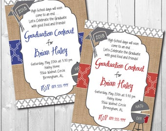 Graduation Party Invitation Cookout printable/Digital File/bbq, burgers, grill, boy, girl, class of 2018/Wording & Colors can be changed