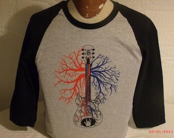 """Warren Haynes/Jerry Garcia Shirt """"Patchwork Quilt"""" 3/4 sleeve Baseball Jersey."""