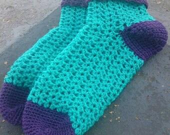 Crocheted ankle socks