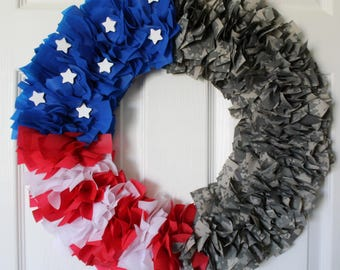 Army Wreath, Camouflage Wreath, 4th of July Wreath, Military Family, Homecoming, Deployment,