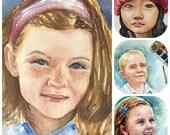Private Listing for TN: Watercolor portrait, Realistic watercolor portrait from photo