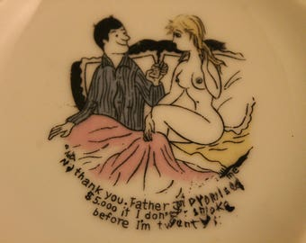"Vintage Naked Lady Ashtray ""No Thank You Father Promised Me 5,000 If I Don't Smoke before I'm Twenty"" Humor Novelty Smoker Gift Cigarette"