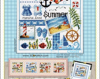 Four Seasons <Summer> Counted cross stitch chart SODAstitch SO-3147