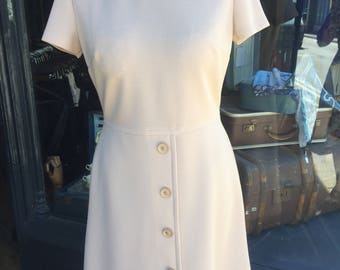Original 1960s Dress and Jacket in taupe and cream. So stylish! Guide Size 12. #A24