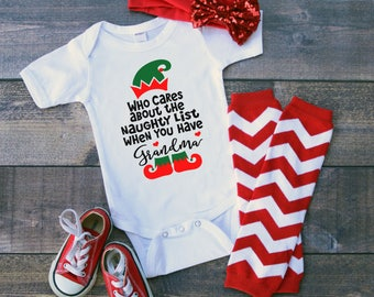 Grandma Who Cares About A Naughty List When You Have Newborn Baby Toddler Short Sleeve Bodysuit Tee Shirt Christmas Elf Holiday Grandparent