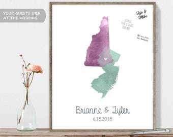 Wedding Map Guest Book Alternative / States Map Illustration / Watercolor Map Guestbook / Guest Sign In ▷Canvas, Paper, Board {or} Printable