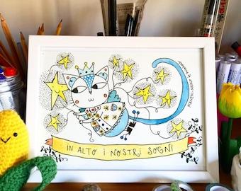 Custom illustration Maneki Neko (lucky cat)