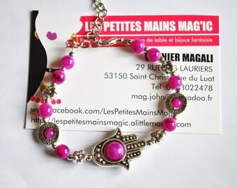 Stunning plum Pearl and hand of Fatima bracelet