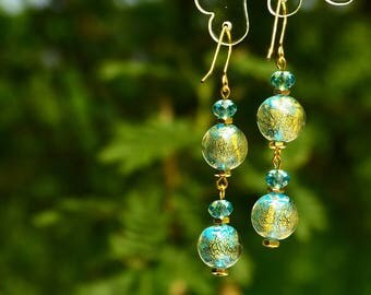 Aqua blue Murano glass earrings with gold leaves