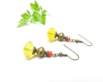... Yellow bubble... Earrings Bohemian Indian yellow bead