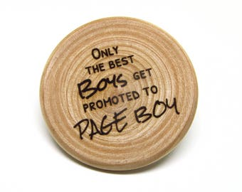 Page Boy Badge Wooden Rustic Wedding Shabby Chic Little Boys Wood Slice Engraved Badge Gift