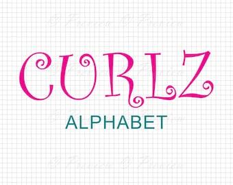 Buy 2 Get 1 Free! Digital Clipart Curlz Alphabet Monogram, modern cutting cricut font images text style png/eps/svg/dxf/pdf/studio cut files