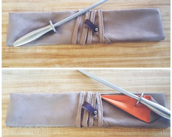 Taupe & Orange 5 slot Knife roll, knife case, chef roll personalized with initials made with taupe suede (Handcrafted)
