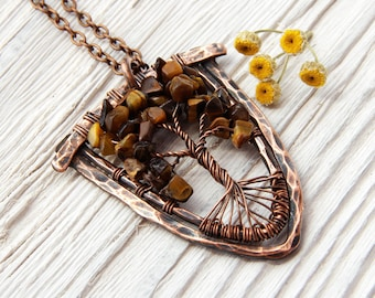 Tigers eye necklace - Tree of Life Pendant - Tigers Eye - Crystal Pendant - Gemstone Necklace - Wire Wrapped - Crystal Metaphysical Jewelry