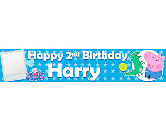 2 x Peppa Pig George Photo Personalised Birthday Banner, custom, party,