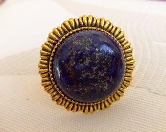 """Adjustable ring cabochon round stone """"lapis lazuli"""""""