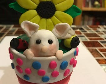 Sweet Polymer Clay Mouse Flower pot, hand made, unique gift, affordable present, garden, flower, lady bug, bee, gift for mum